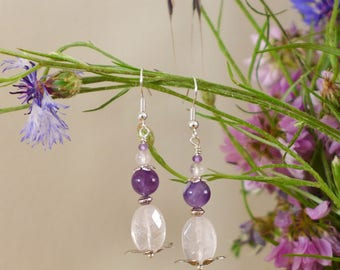 Earrings romantic rose quartz and Amethyst
