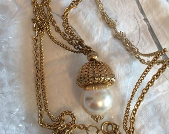 Goldtone Doublestrand Chain w/ Pearl Pendant