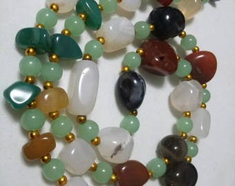 Polished Gemstone single strand vintage necklace