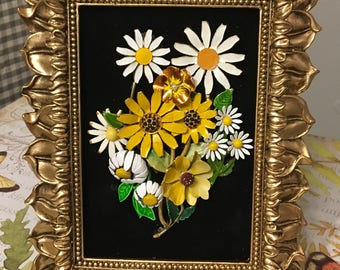 Vintage Jewelry Sunflower Daisy Framed Art Collage Picture