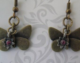 Bronze butterfly dangling earring