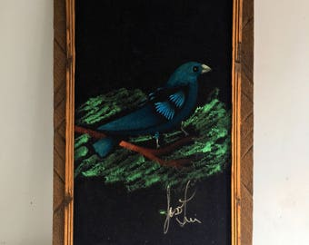 Mid Century Velvet Bird Painting, Made in Mexico