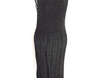 Vintage Crochet Knitted Mesh Beaded Burlesque Gothic Wiggle Dress Black Size S