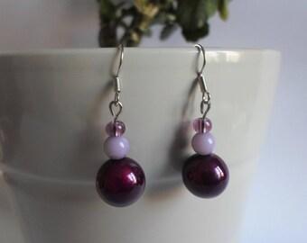 3 violet/purple glass beads earrings
