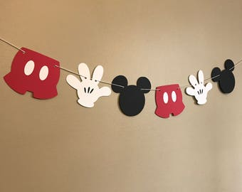 Mickey Mouse Banner - Mickey Mouse Birthday Banner - Cake Smash Mickey - Photo Shoot Prop - Baby Shower Banner - Nursery Decor