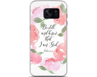 "Samsung Case  ""Be Still"" Pink Peony Wreath"