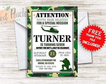 Army Birthday Invitation Kids Military Invite 5x7 Digital PDF FILE Birthday Camo Camoflauge