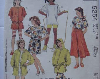 Uncut McCall's Girl's Tunics,Top,Culottes,Leggings or Shorts for Stretch Knits Only #5254 Pattern