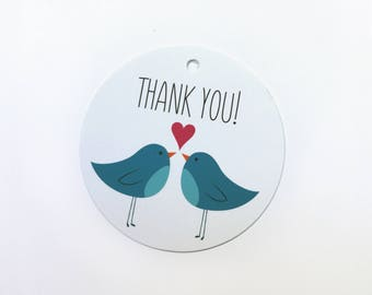Thank You gift tag with two illustrated blue birds and heart – set of 12