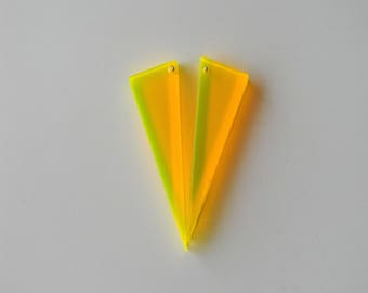 Lemon Yellow Futuristic Geometric Neon Triangle black light reactive earrings in Large