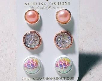 Rose Gold & Mermaid Earring Sets