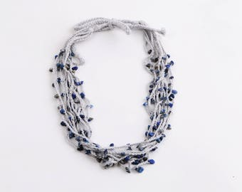 Necklace crochet multi strand with Lapis lazuli stone