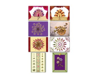 Set of 8 greeting cards with 8 pressed flower motifs