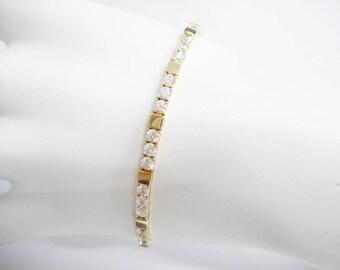 """Diamonique Bracelet, Gold Bracelet, Vintage Bracelet, Link Bracelet, DIAMONIQUE 14k Yellow Gold Round Cubic Zirconia Bracelet 7"""" DQ CZ #1606"""