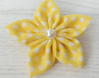 Yellow Flower Hair Clip - Yellow Hair Accessory - Yellow Hair Bows - Flower Hair Clips - hair bows - hair clips - gifts for girls