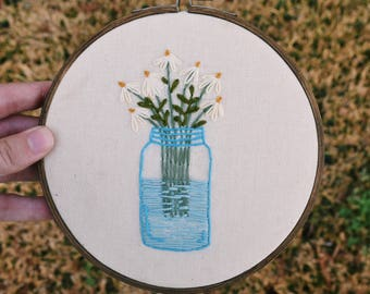 Daisies Hand Embroidered Hoop