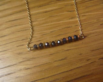 Necklace black and gold beads