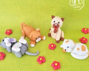 Edible Fondant Little Cats Cake Topper
