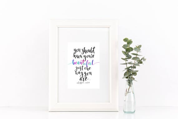 "Digital Print Download - Alessia Cara quote - ""Beautiful"" - inspirational quote print"