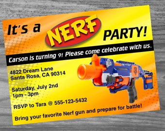 Dart Gun Birthday Party Custom Invite Package - Make your party extra special with this great looking invite, game, banner, & bottle wraps!