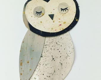 Little Black and Grey Owl collage, Owl art, Paper Cut Owl, Nursery Art, Children's decor, baby owl
