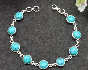 Natural Turquoise Round Gemstone Chain Bracelet 925 Sterling Silver B59