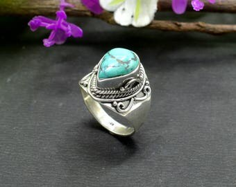 Natural Turquoise Pear Gemstone Ring 925 Sterling Silver R121