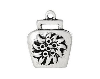 5 followers, Bell, charm, decorated, vintage-style, decorated, flower, Edelw..., 43857
