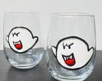 BOO SUPER MARIO pair of two (2) wine glasses