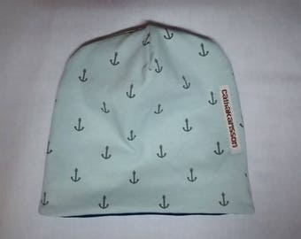 Reversible hat for kids, maritim, Wendebeanie, petrol, mint with anchors for infant