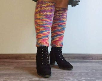 Wool leg cuffs gaiters Women's warm Knitted women leg Warmers fall winter Wool Multi colored Leg Warmers Winter gift Warmers legging boot