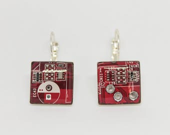 Earrings with recycled motherboard of the computer. Electrical circuits. Gift for her.  Gift Nerd and geek. red earrings