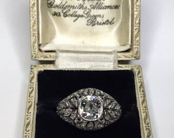 Estate Art Deco Platinum 2.28 CTW Old European Diamond Engagement Ring