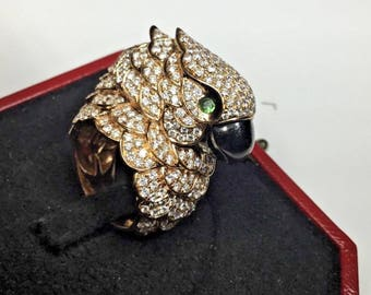 Estate 18K Rose Gold 3.5 CTW Diamond Parrot Bird Cocktail Ring 24.5 Gr. Size 6.5