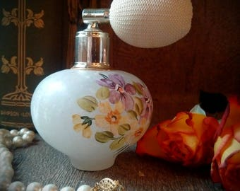 EXQUISITE ROSSI-VOLTERRA Genuine Italian Alabaster Floral Bottle for Perfume // Stunning Vintage Alabaster Atomizer Hand-made in Italy