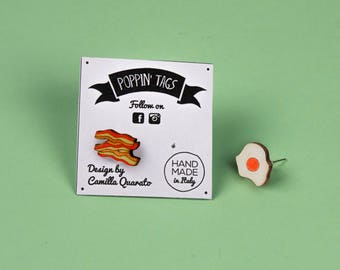 Wooden and Steel EARRINGS, laser cut, hypoallergenic: BACON and EGGS