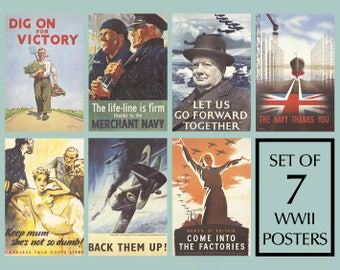 Set x7 World War Two Posters | WWII Poster, Prints, Adverts | British propaganda, War Posters; Churchill, Dig for Britain, Keep Calm