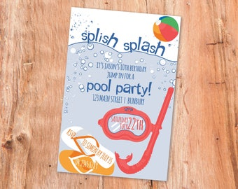 Pool Party Invitation, Pool Party, Printable Invitation, Party Decor, Kids Party Invitations, Printable, Party Invitations, Kids Party