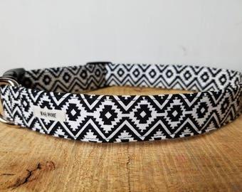 "Black Aztec Dog Collar / Colorful Dog Collar  / Boy Dog Collar / Pretty Dog Collar / Unisex Dog Collar / Dog Gift / ""The Scott"""