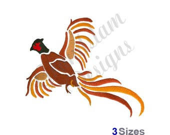 Flying Pheasant - Machine Embroidery Design