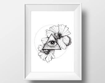 Flowers & Protective Eye, 6x8