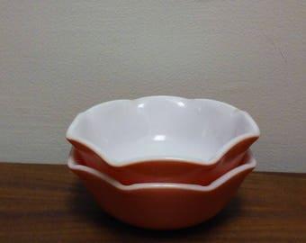 Vintage Pink Milk Glass Hazel Atlas Crinoline Bowl Set