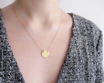 Gold coin disc necklace, hand stamped Initial Necklace, circle necklace, dainty necklace