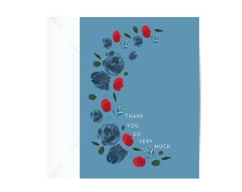 Greeting Card, THANK YOU Card, Half Moon, Floral, Flowers, Stationery, Paper Goods, Cards,