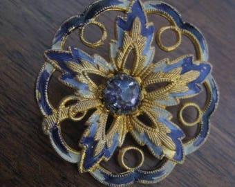 antique button and rhinestone 30 mm metal french collection