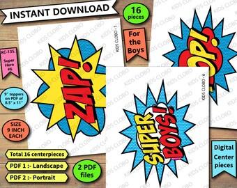 Superhero Centerpiece, Superhero Party Decoration, SuperBoys Word Bubbles, Superboys Centerpiece, Superhero, Superhero party, Superheroes