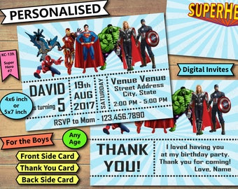 Superhero Invitation, Superhero Birthday Invite, Superhero Birthday Invitation, SuperHeroes Birthday Invite, Avenger Birthday Invites