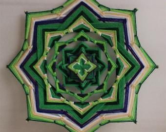 Anahata, Heart Chakra - woven mandala, ojo de dios, olho de deus, wall hanging - 24.5 cm