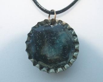 Galaxy bottle cap necklace