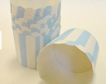 Light Blue Stripe Portion Paper Baking Cups with Scalloped Tops - Light Blue and White - set of 25 Cupcake Wrappers, Cupcake Liner, Muffin,